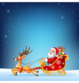 Cute Santa clause in his Christmas sled vector image