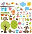 Garden set with birds trees flowers vegetables vector image