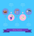 wine choices icons and ribbon vector image