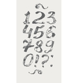 Ink digits and punctuation marks freehand vector image