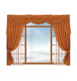 Window with curtains and winter landscape outside vector image