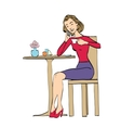 Beautiful woman in cafe drinking coffee vector image