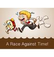 Man racing against clock vector image
