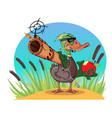 duck wih a gun vector image