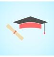 flat graduation cap and diploma concept of vector image