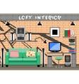 living room interior loft vector image