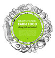Vegetable hand drawn vintage wreath vector image