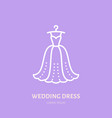 wedding dress on hanger icon clothing shop line vector image