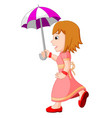 Young girl with an umbrella vector image