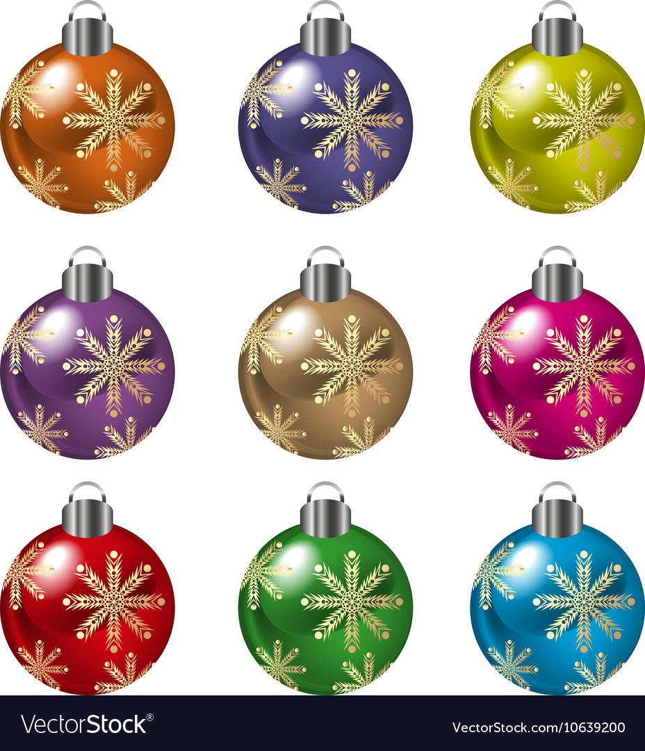Christmas balls in various colors vector