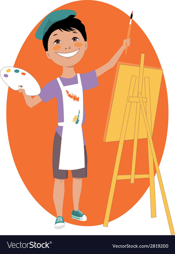 Little boy painting with an easel vector