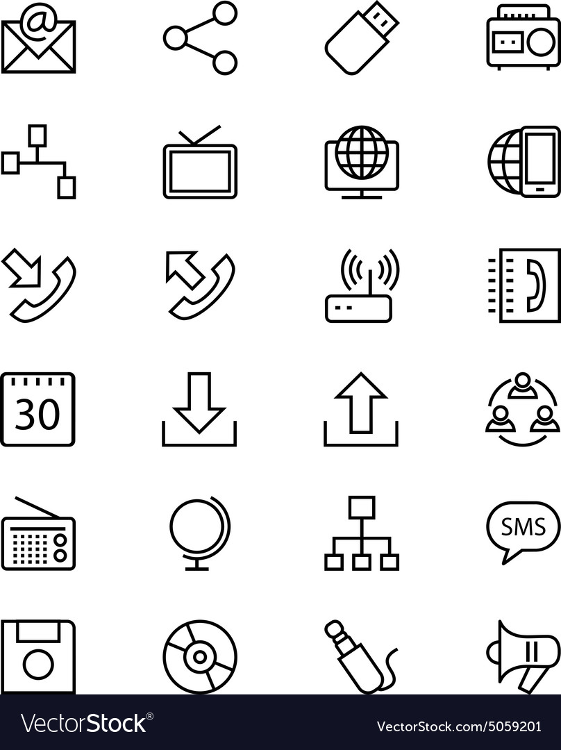 Communication line icons 2 vector