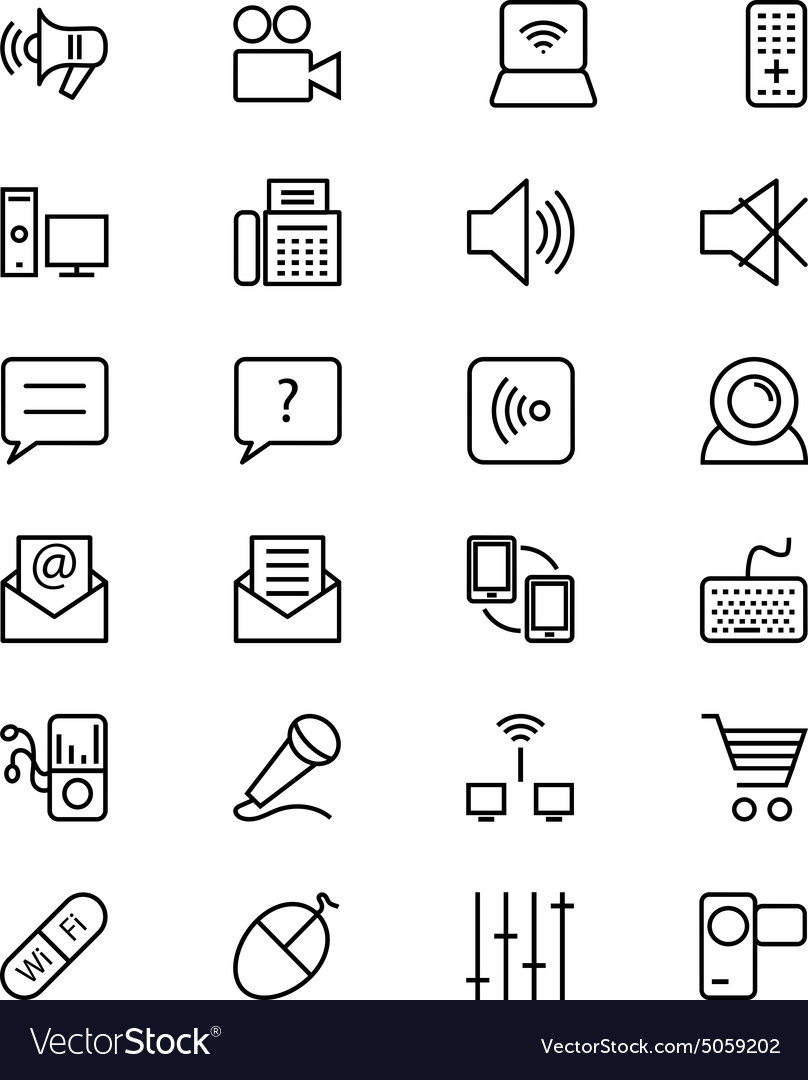 Communication line icons 3 vector