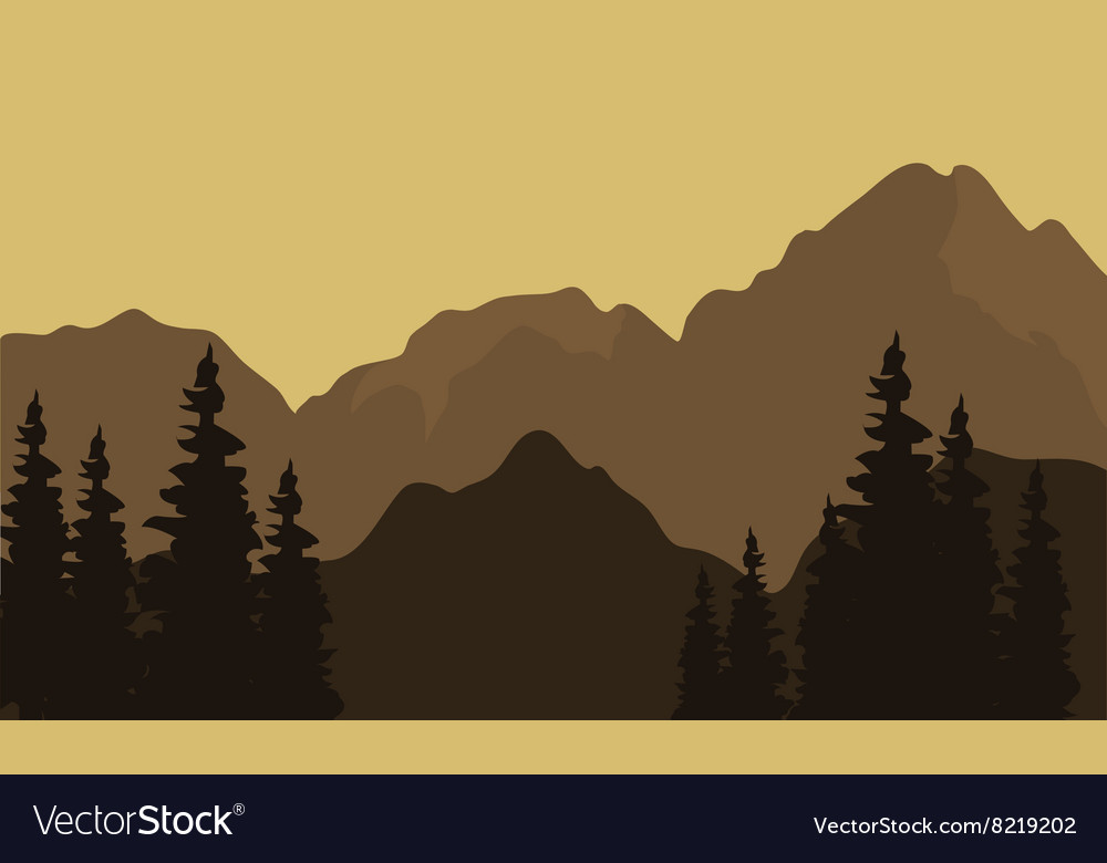 View of mountain silhouette vector