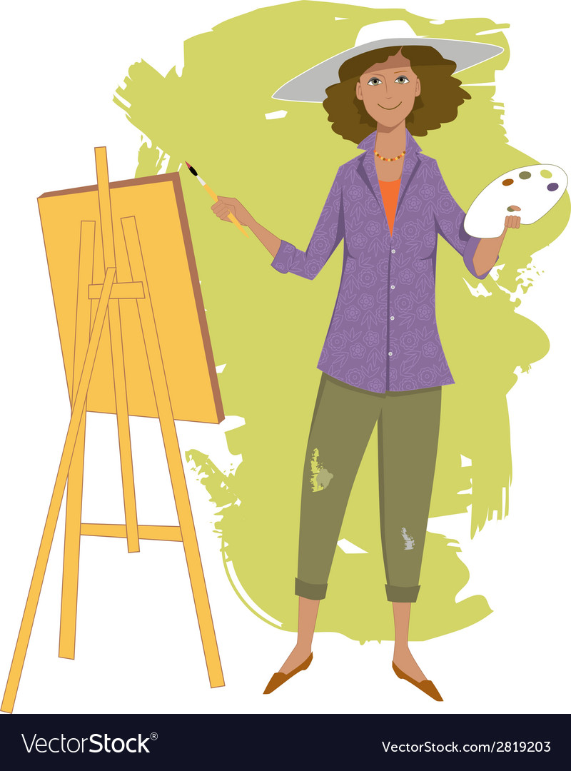Female artist painting vector