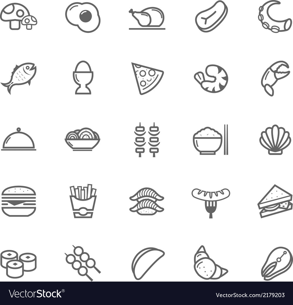 Set of outline stroke food icon vector