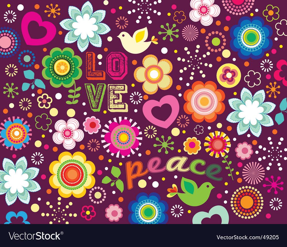 Groovy love and peace background vector