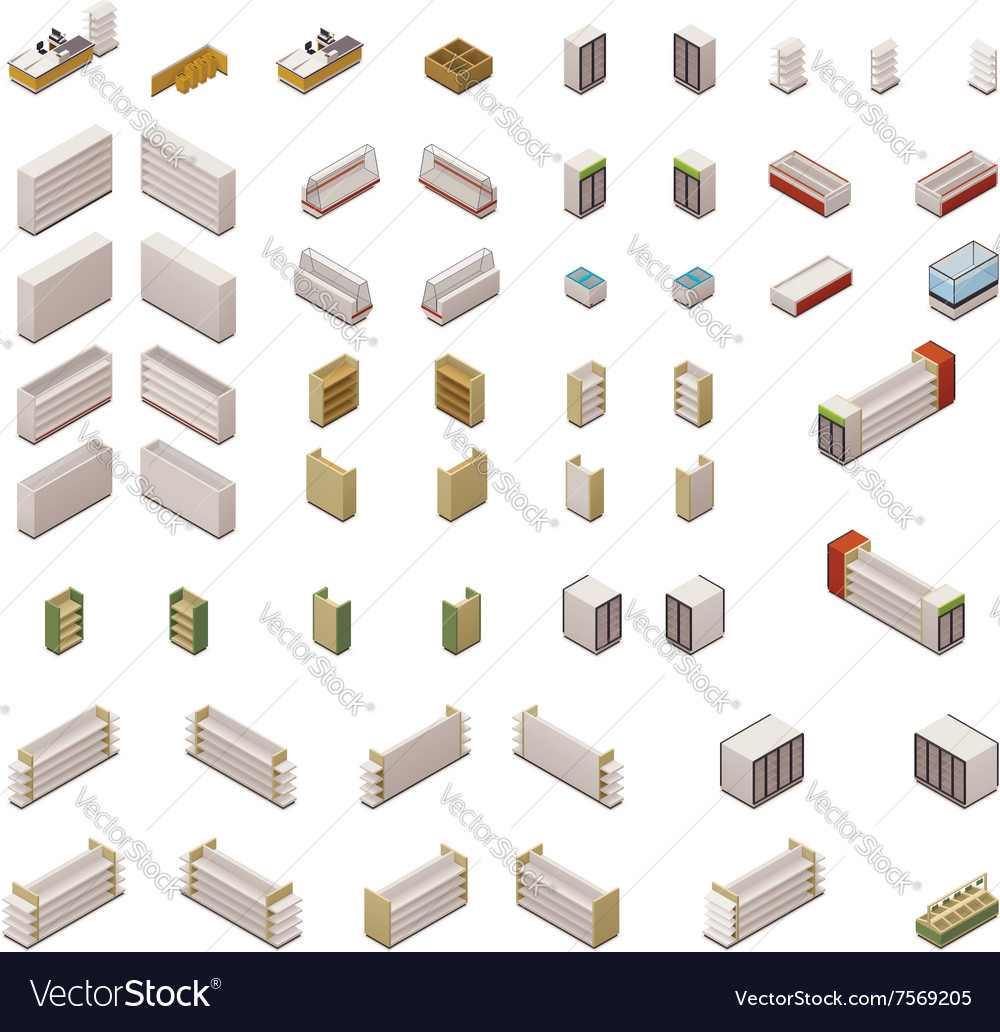 Isometric supermarket equipment vector