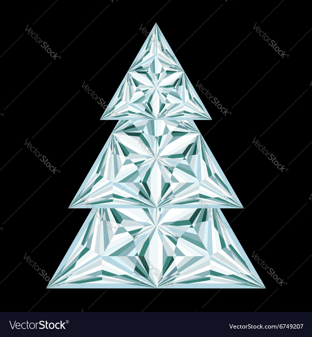Diamond christmas tree on black background vector