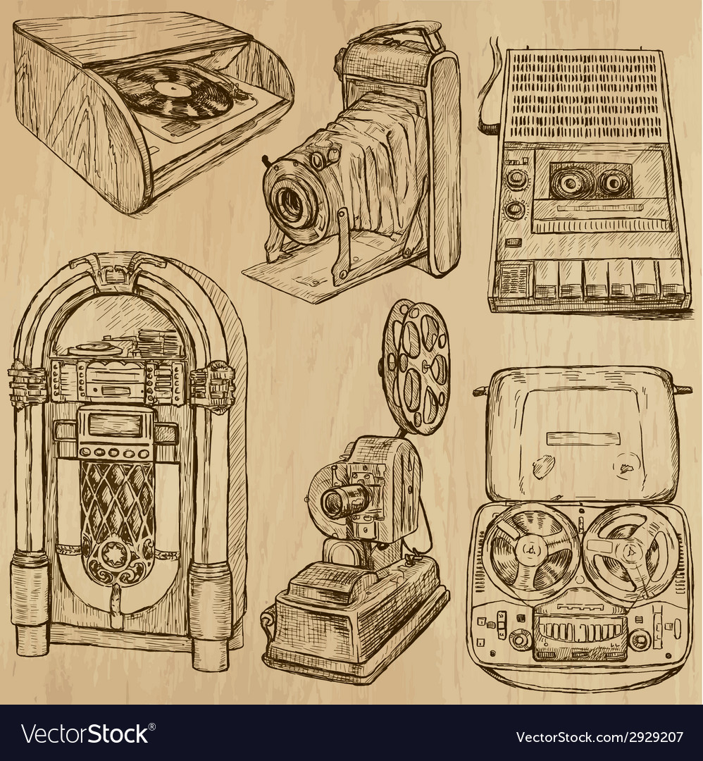Old objects no3  hand drawn collection vector