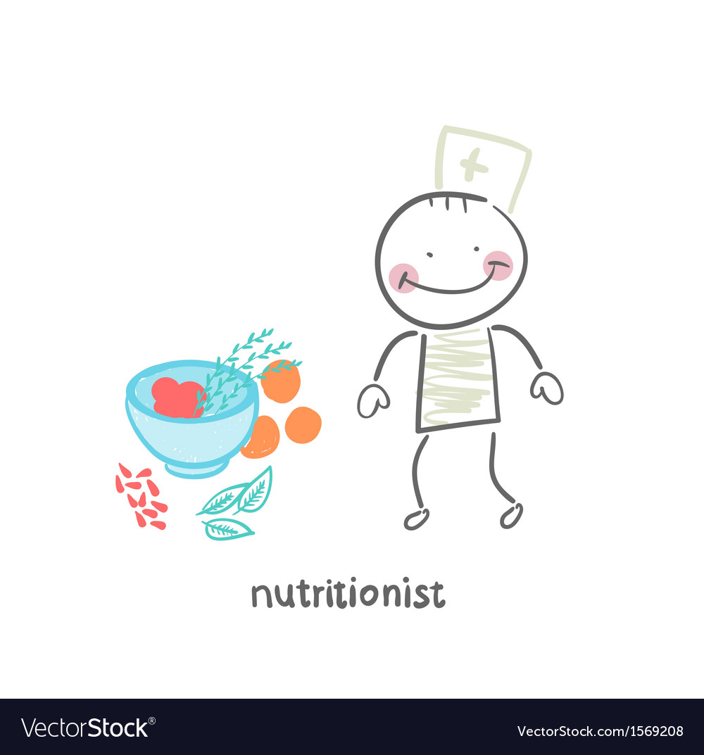 Nutritionist standing next to a bowl of vegetables vector
