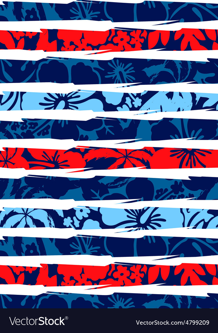 Beach hibiscus and stripes vector