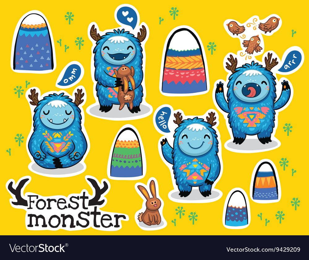 Cartoon funny monsters stickers collection vector