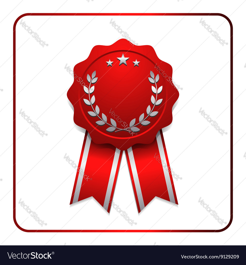 Ribbon award icon red 2 vector