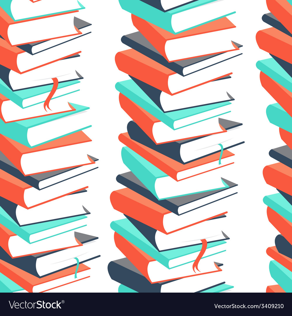 Seamless book pattern vector