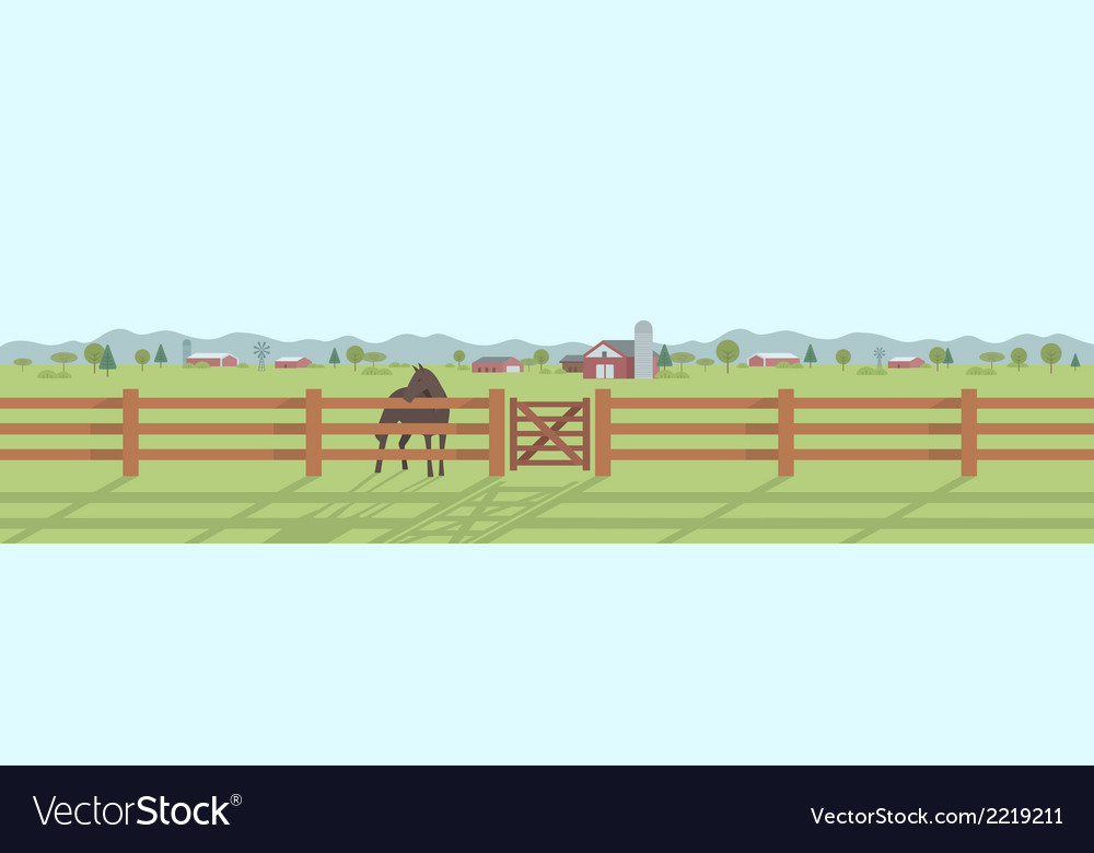 Rural landscape panorama vector