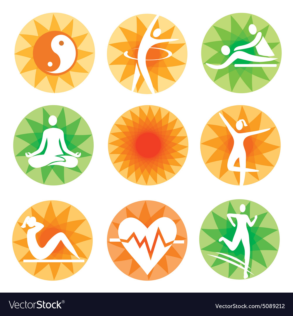 Fitness spa decorative icons vector