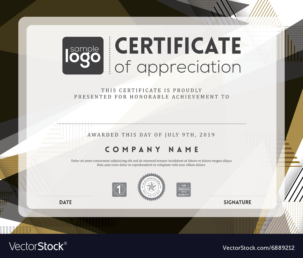 Modern certificate abstract frame template vector