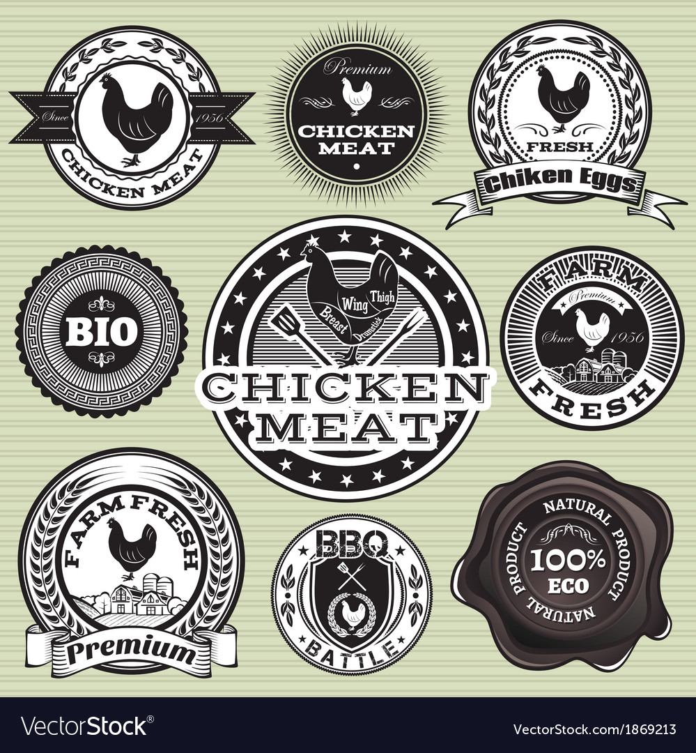 Set of labels with chicken and eggs vector