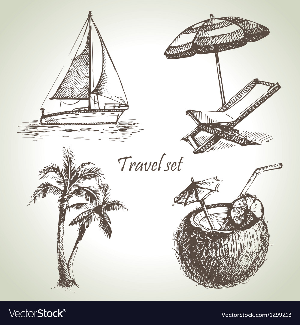 Travel set vector