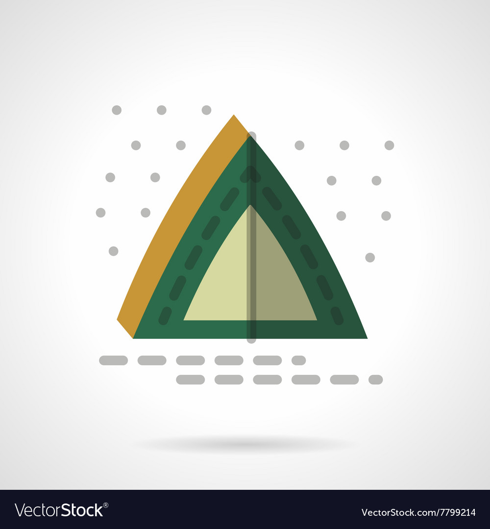 Green camping tent flat color design icon vector