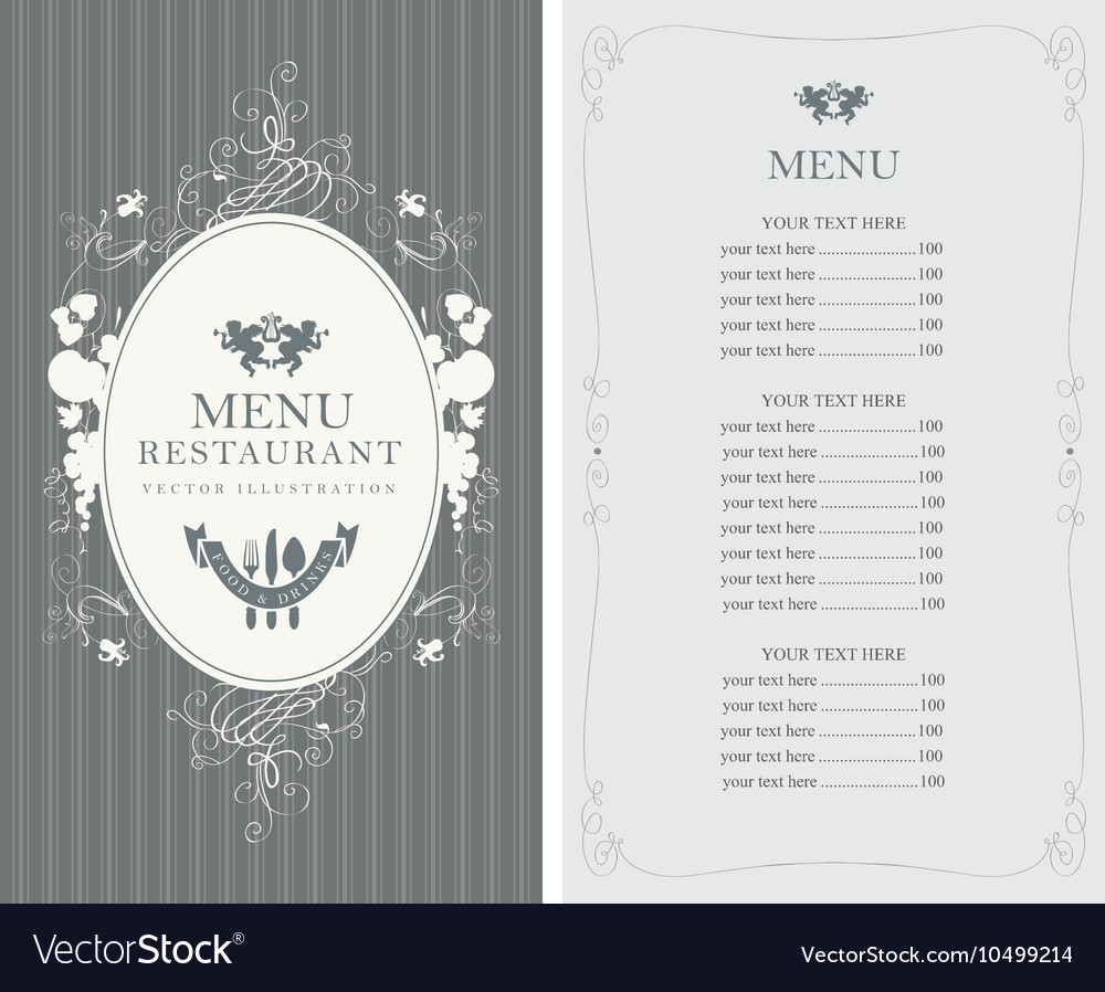 Menu with floral ornaments in style baroque vector