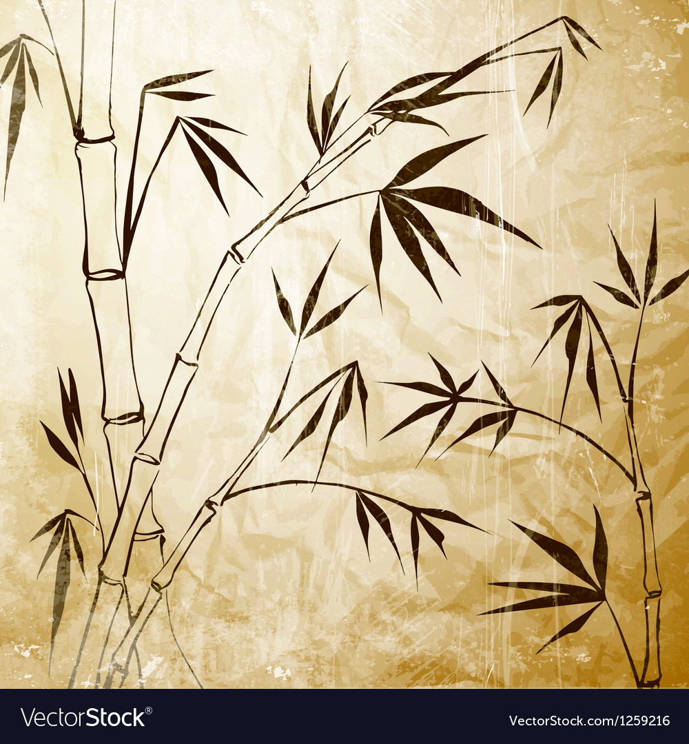 Bamboo painting vector