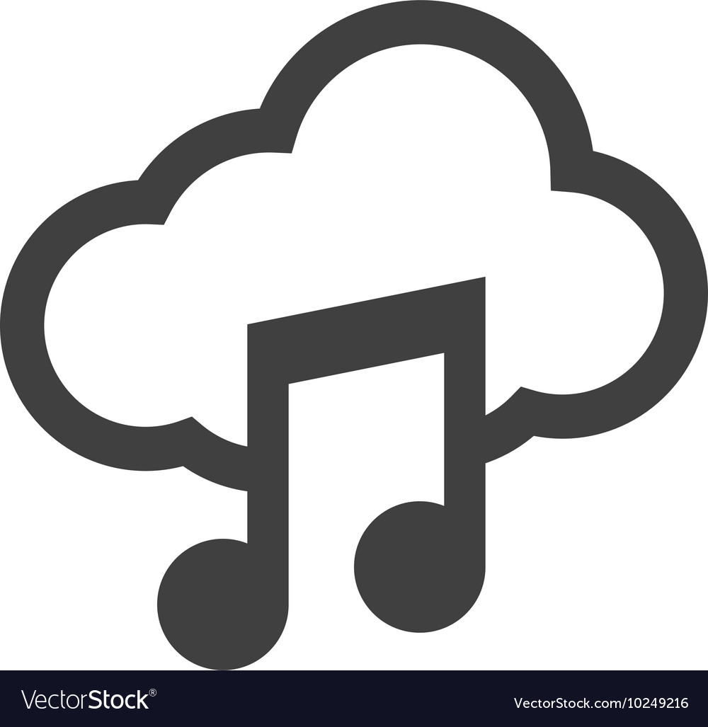 Music note cloud sound silhouette icon vector