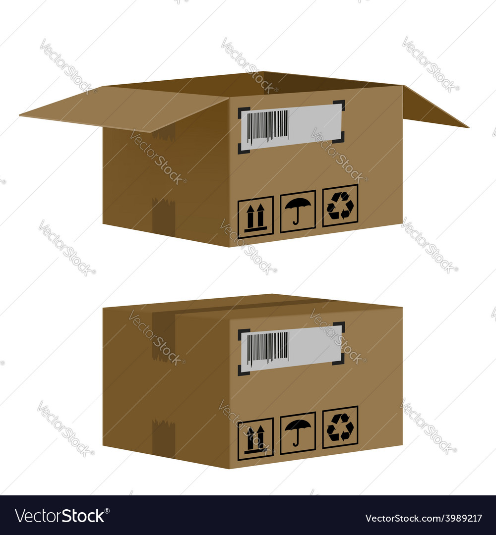 Set of boxes isolated on white background vector