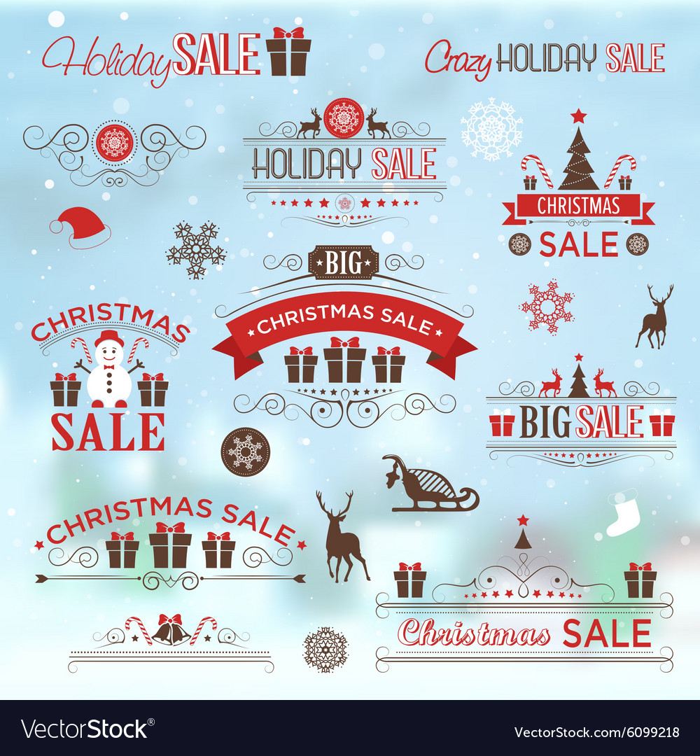 Christmas sale design set  labels emblems vector