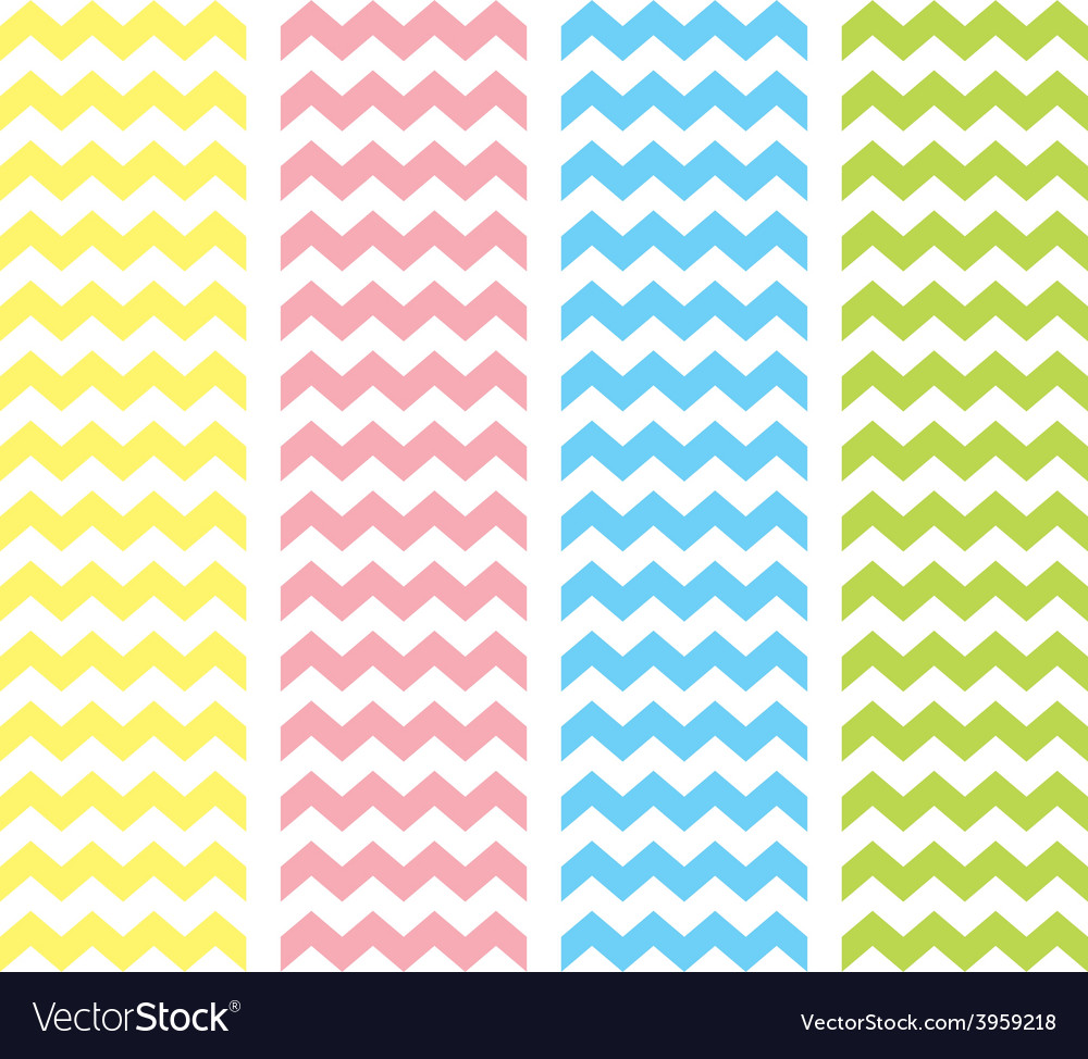 Zig zag pastel chevron tile pattern set vector
