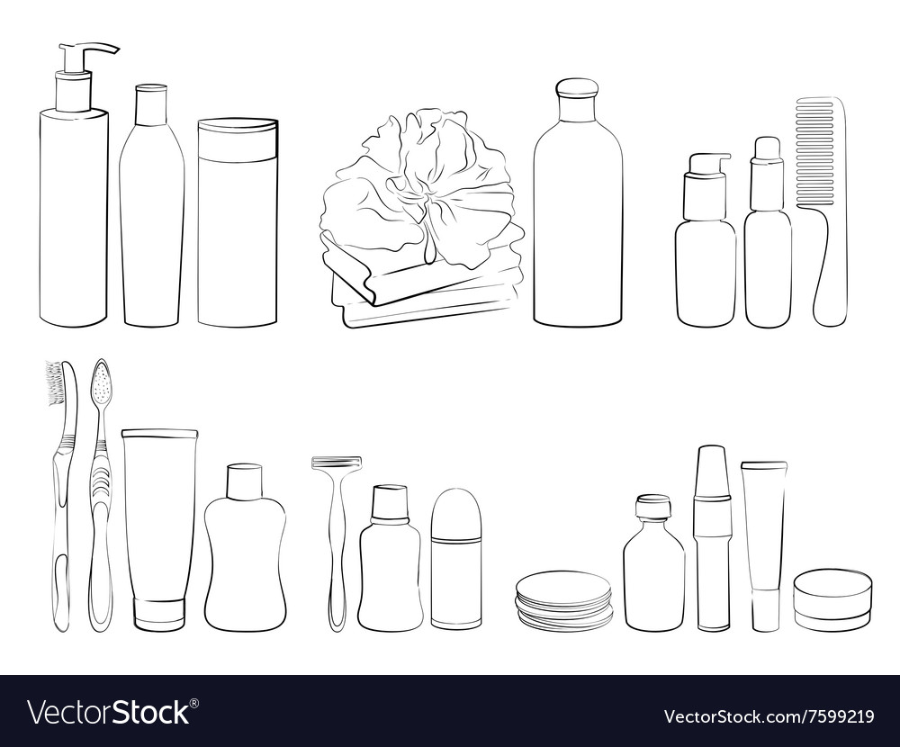 Outline of body care and hygiene set vector