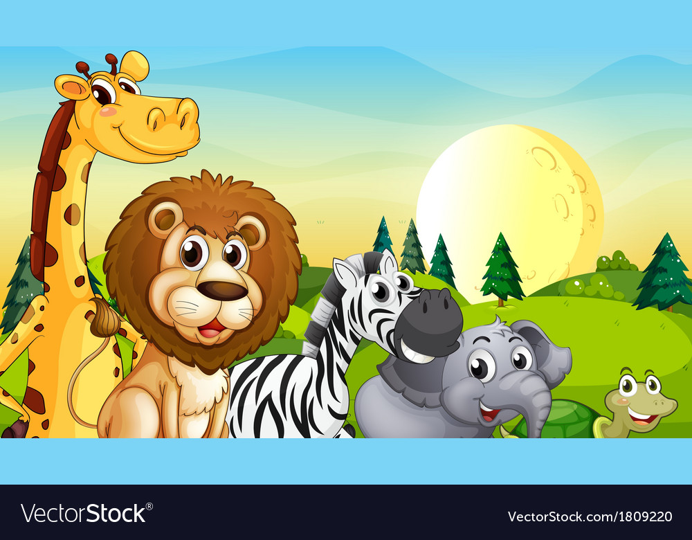Animals at the hilltop with pine trees vector