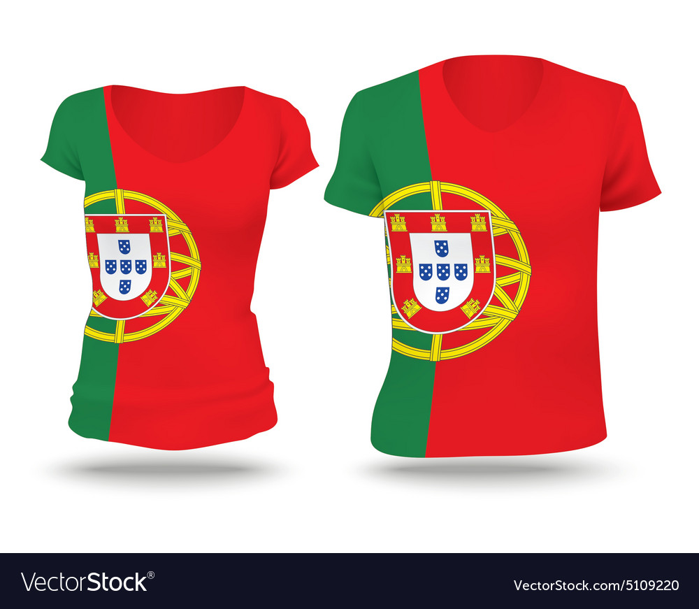 Flag shirt design of portugal vector