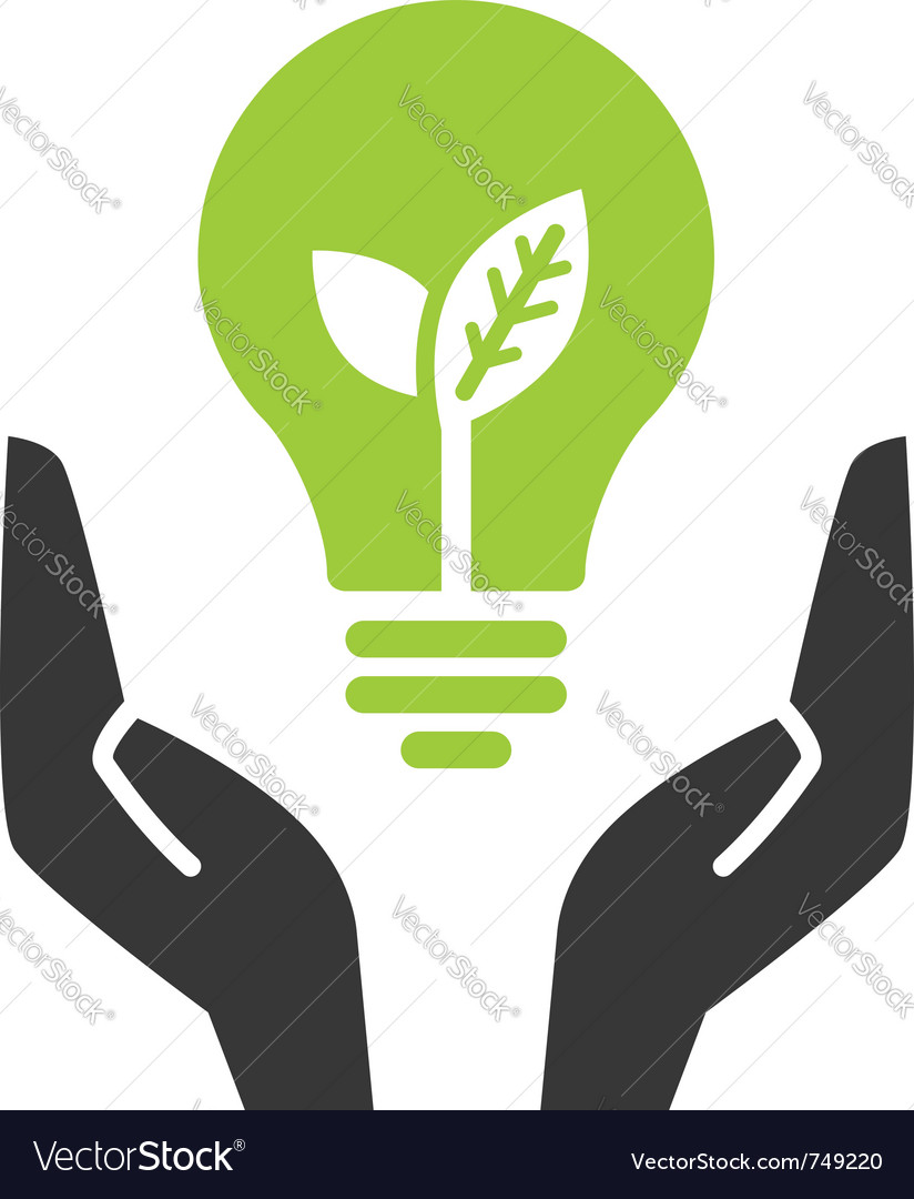 Green ecology bulb in open hands vector