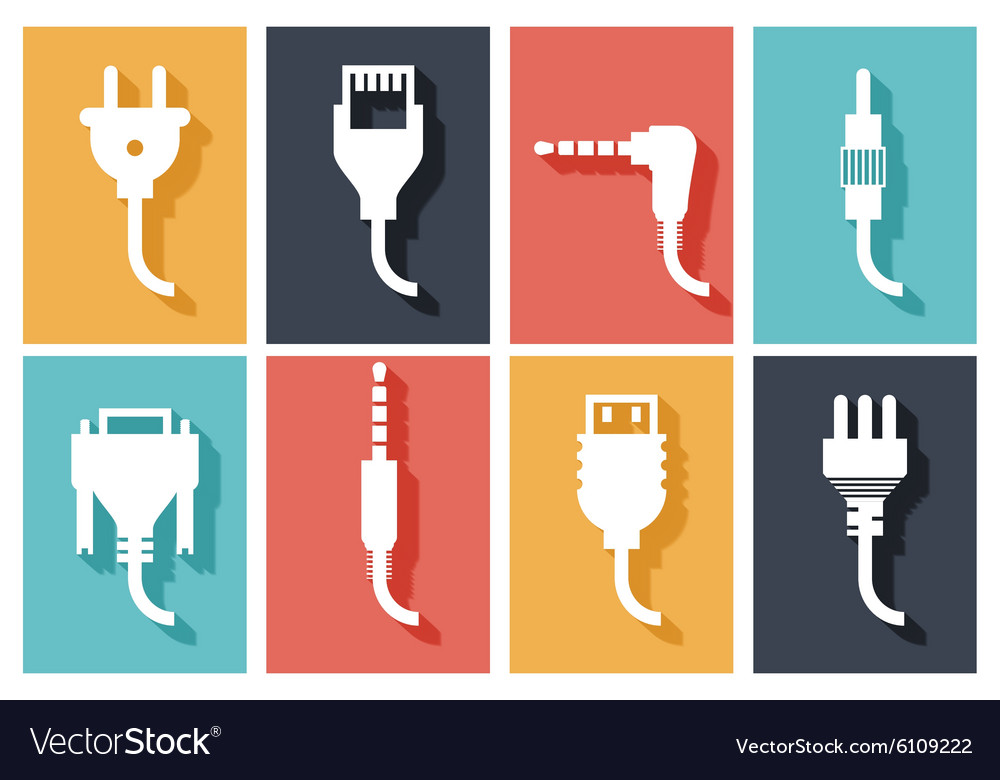 Electric plug flat icons vector