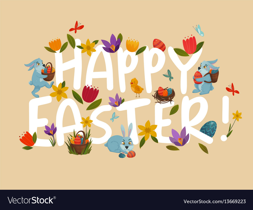Easter greeting bright floral white lettering vector