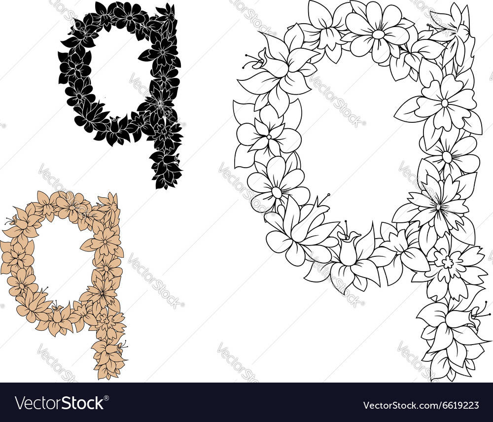 Floral letter q with blooming flowers vector