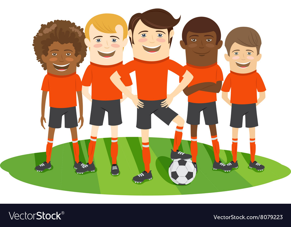 Football or soccer team on the field with ball vector