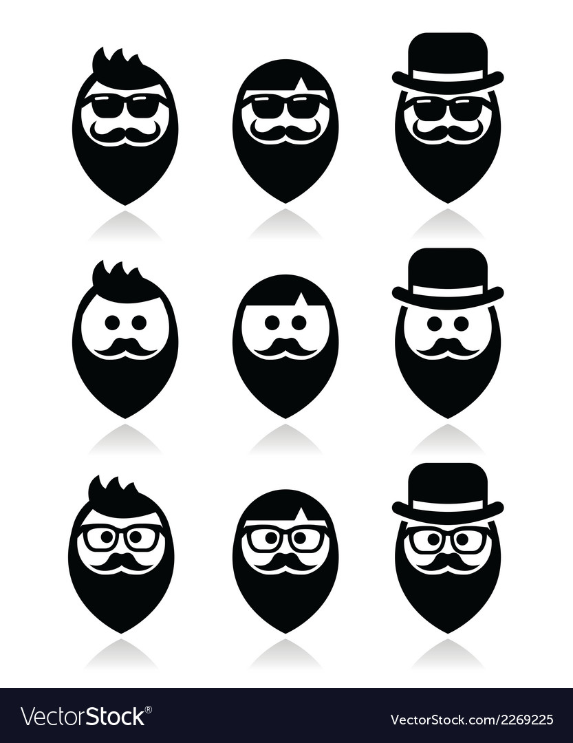 Man with beard with moustache or mustache hipster vector